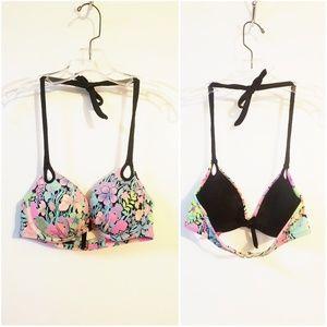 Victoria's Secret Sz 32C Floral Halter Bikini Top